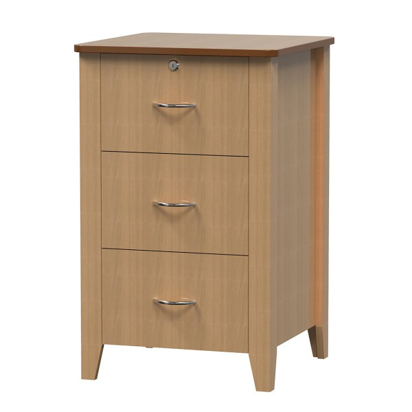 Bedside Locker 3 Drawer Tapered Leg Young Beech AXBL630-YB